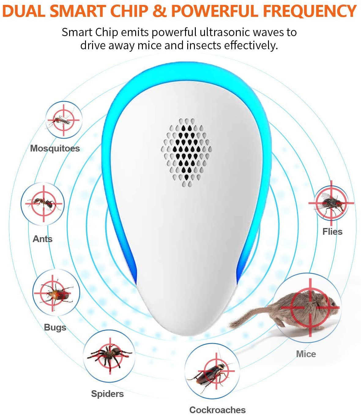 Ultra Sonic Pest Repel-ler 6-piece, indoor pest control, suitable for insects, mosquitoes, cockroaches, mice, ants,
