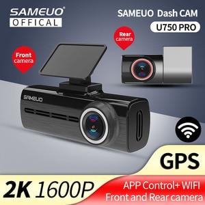 Sameuo U750 Pro Dash Cam зеркало заднего вида GPS Авто Dashcam WI-FI для автомобиля Камера 1440P 2K видео Регистраторы заднего вида Dvr 24 часа в сутки для парковочной системы