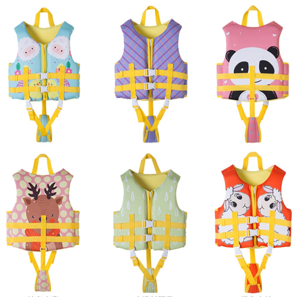 Спасательные жилеты из неопрена для мальчиков и девочек, детский мультяшный солнцезащитный плавающий жилет для плавания, 2021
