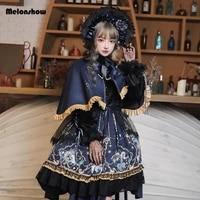 melonshow japanese gothic dress lolita cape plus size girls op victorian medieval lace black women punk dress kawaii clothes