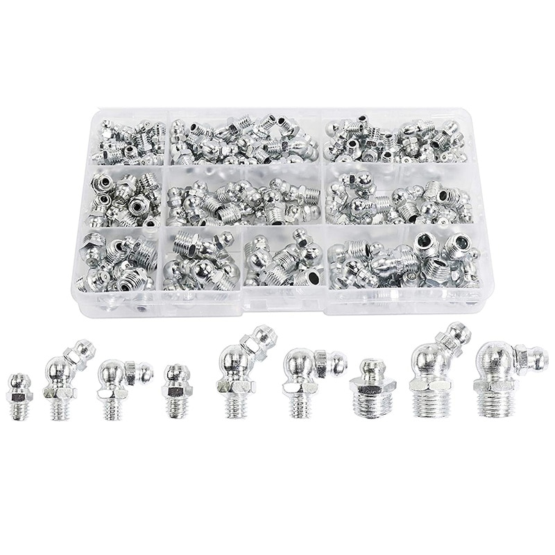 115Pcs Steel Zerk Grease Nipple Fittings Assortment Kit ,Straight, 90-Degree, 45-Degree Angled(M6,M8,M10)