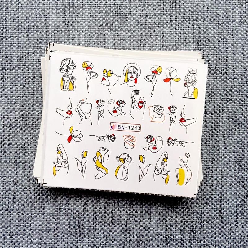 11 шт./компл. абстрактные линии букв Дизайн Наклейка на ногти водная переводная декорация для ногтей советы по красоте 2019 Newst