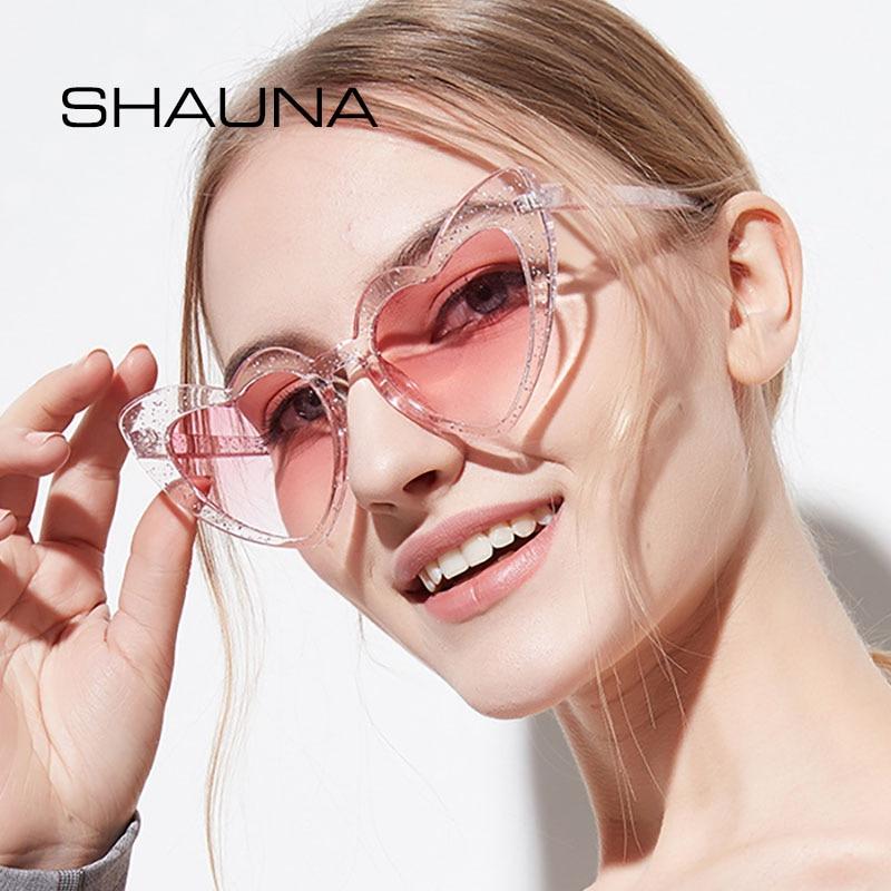 SHAUNA Metal Hinge Popular Heart Sharp Women Cat Eye Sunglasses Fashion Candy Colors Glasses UV400