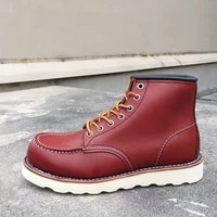 2020 new designer handmade vintage men shoes high quality cow leather ankle boot goodyear welted wings motorcycle boots wine red
