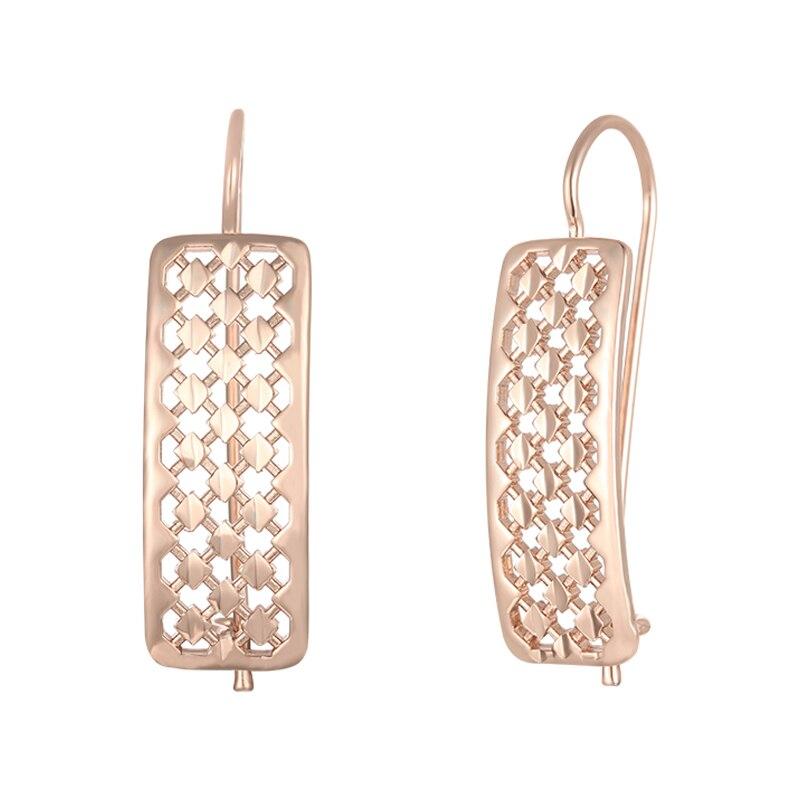 FJ 11mm de ancho mujeres 585 Color oro rosa cuadrado hueco redondo gota pendientes joyería