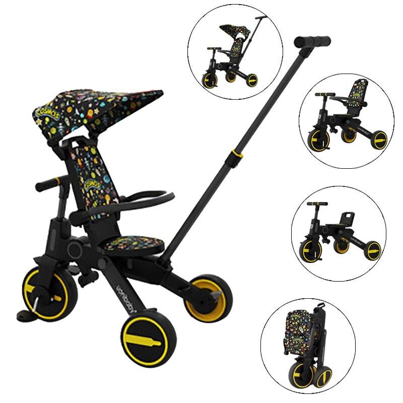 Cochecito plegable para bebé, triciclo plegable para niños, triciclo para bicicleta de 3 ruedas 7 en 1, bicicleta ligera para niños, carrito para niños pequeños