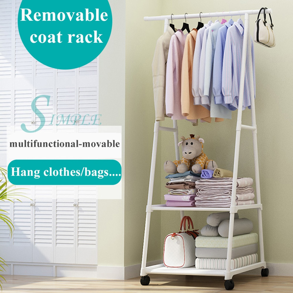 Вешалка для одежды, подставка для мебели в спальню, подвижная вешалка для одежды, напольная стойка с полкой для обуви, вешалка для пальто, по...
