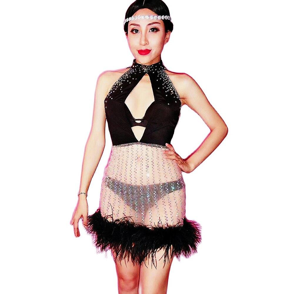 منظور الرقص ارتداء النساء السود الريش الراين شبكة الشاش فساتين مثير فستان قصير ملهى ليلي ازياء المرحلة تظهر ارتداء