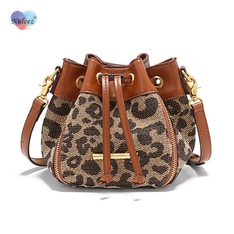 Mini Bag Women Leopard Bucket Cross-Body Cowhide Leather Zipper Decoratiion Fashion New Designed Brand Bag Cute Gift for Girls