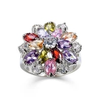 krasivaya copper big multi zircon rings for women jewelry gift accessories