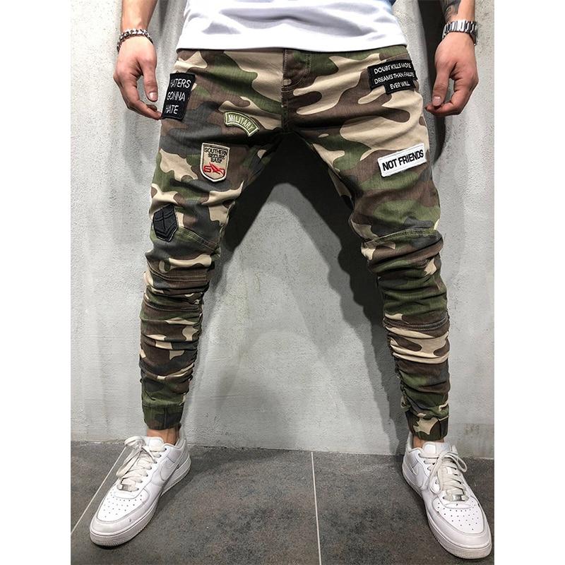 Камуфляжные мужские брюки для бега хип-хоп с вышитыми буквами, брюки-карго, мужские повседневные тонкие брюки, мужские брюки-карандаш