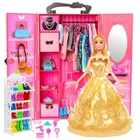 doll house funiture 108 items 1 wardrobe 107 accessories dress crown necklace shoes cup glasses for barbie diy toys gift girl