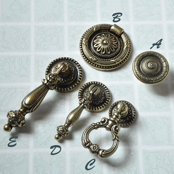Tirador de cajón de estilo Vintage, tiradores de tocador, tiradores de herrajes/perilla clásica Retro de bronce antiguo para gabinete/perilla de cocina