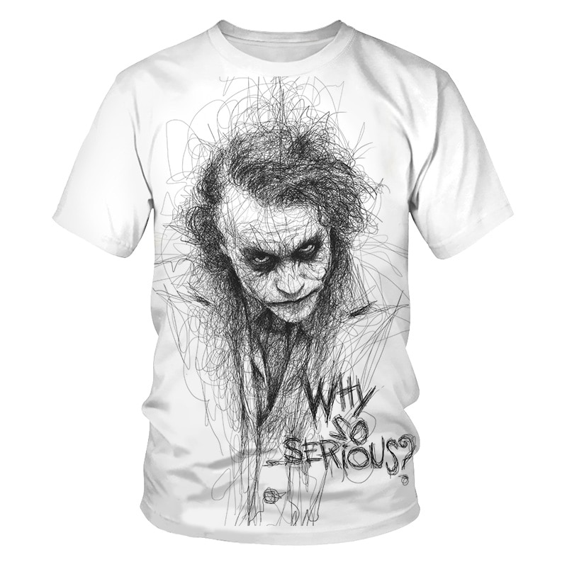 Divertido estampado de payaso camiseta hombres Cool Joker 3D T camisa verano ¿por qué tan serio Harajuku Camiseta cuello Casual camiseta Homme Dropship