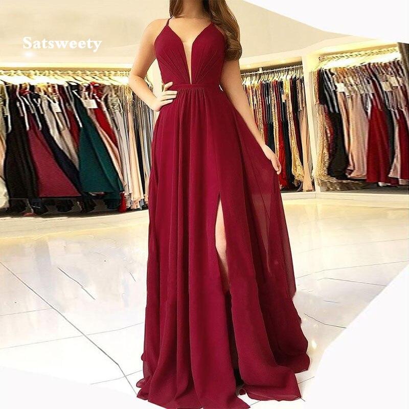 فستان سهرة أنيق ، ياقة على شكل v ، شق ، خط a ، رسن ، بورجوندي ، شيفون ، طويل ، فساتين حفلات نسائية