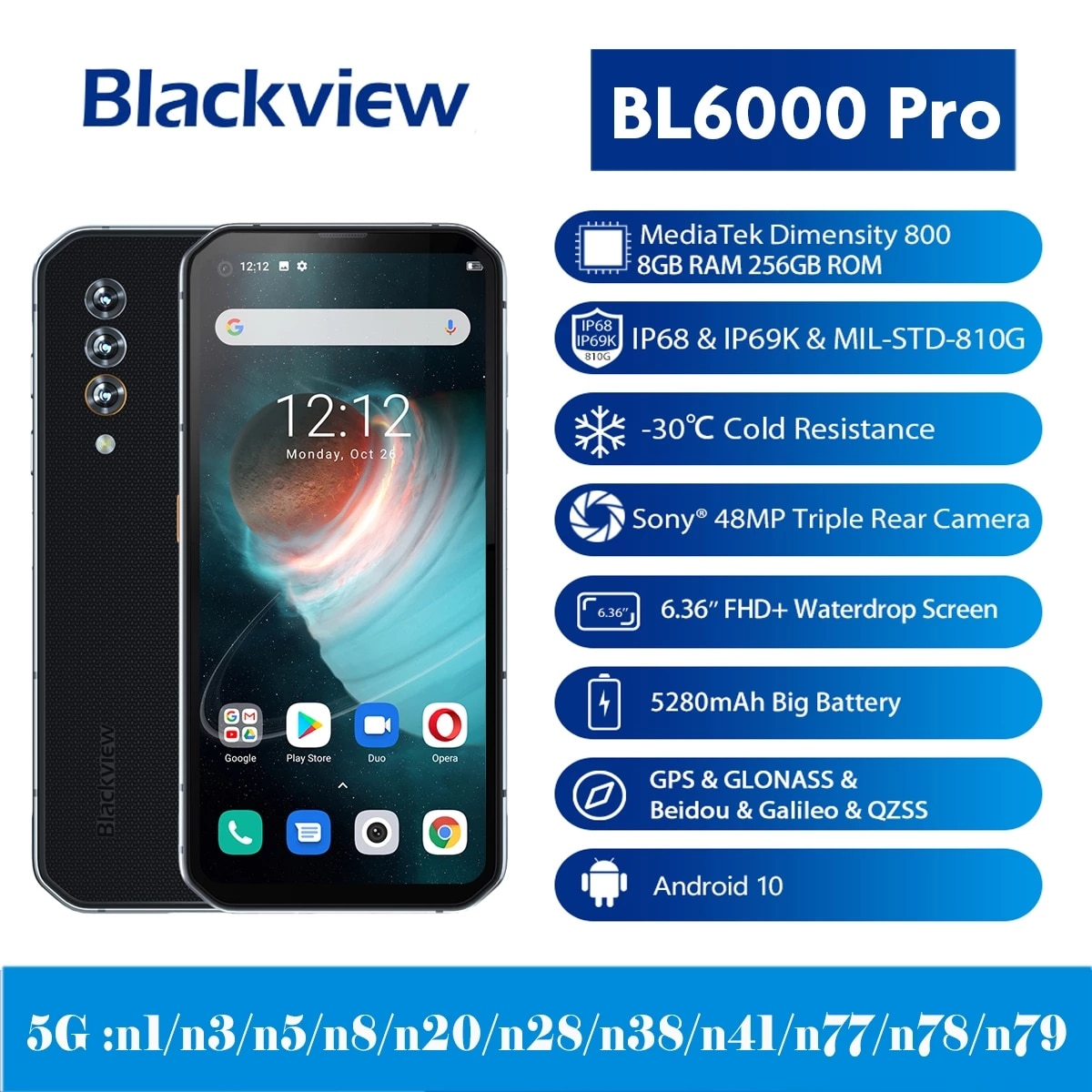 Original Global Version Blackview BL6000 Pro Cellphone IP68 Waterproof 48MP 8GB RAM 256GB ROM 6.36 Inch FHD+ NFC 5G Mobile Phone