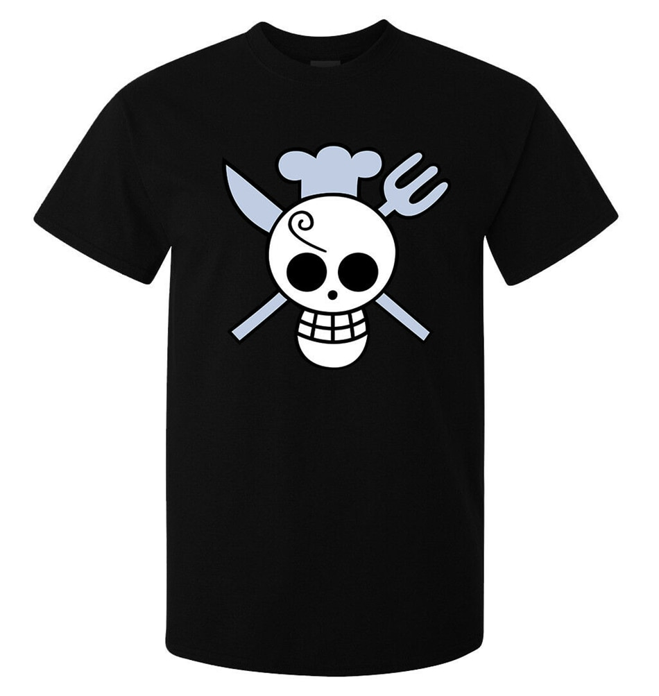 Una pieza Sanji bandera Anime arte Manga hombres (mujer está disponible) T camisa camiseta negra camisa de Manga corta