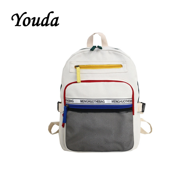 Youda New Original Large Capacity Ladies Backpack Classic College Style Student Schoolbag Solid Color Design Canvas Backpacks недорого
