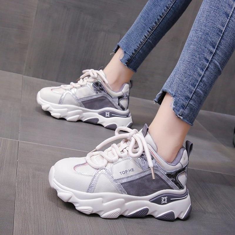 الربيع رياضية غير رسمية الأحذية النسائية موضة عادية كل مباراة أبي الأحذية تنفس ومريحة شبكة حذا فردي للسيدات أحذية منصة
