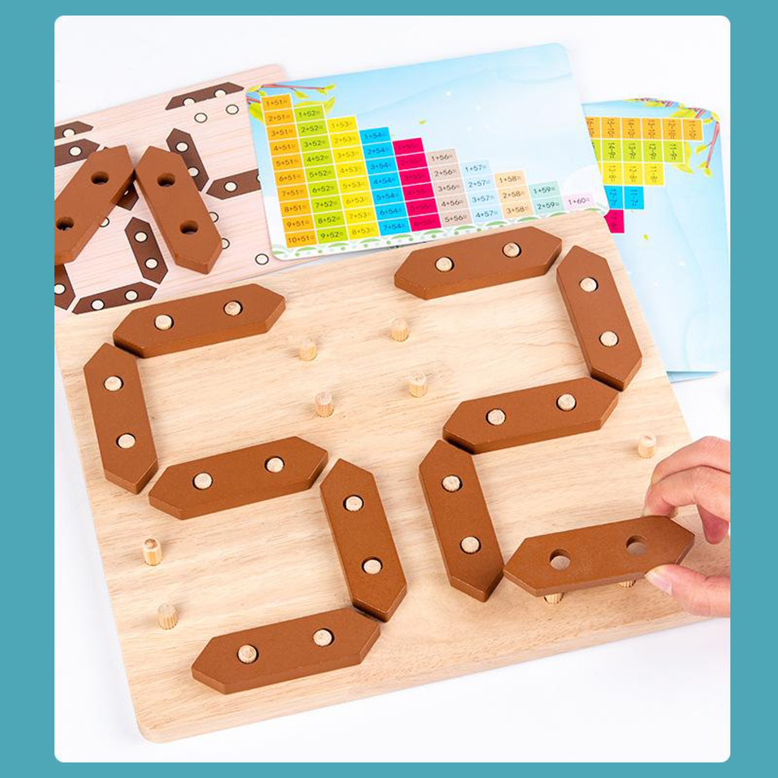 Wooden Number Puzzle Toys, Puzzle Game Preschool Stacking Blocks for Toddler,