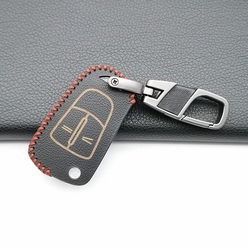 Funda de cuero para llave de coche, funda fob para Opel Astra H Corsa D j insignia g vectra c mokka zafira, 2 botones, funda plegable para llave de coche