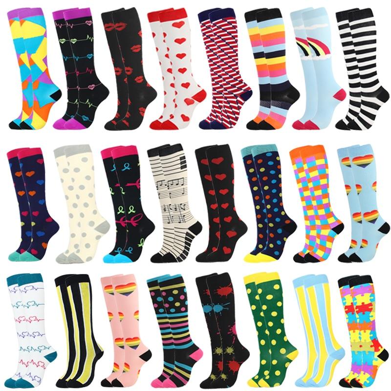 Men&Women Compression Socks Leg Support Stretch Outerdoor Breatheable Colorful Heart Skull Stripe Kn