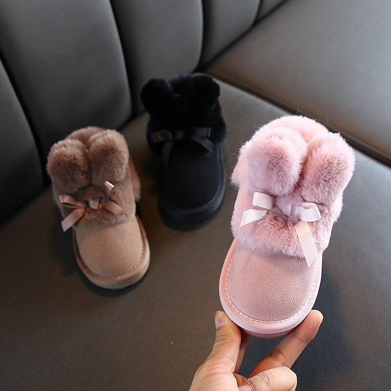 Botas con orejas de conejos, botas de invierno de ante para niñas pequeñas, zapatos de invierno de piel cálidos para niñas, botas de nieve para bebés con banda de lazo, calzado para niños C11181