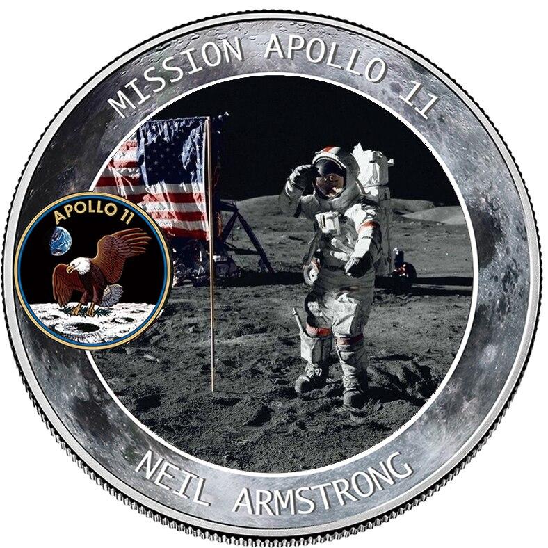 2019 50th Anniversary Apollo 11 Moon Landing Silver Commemorative Coin Gift drop shipping No3