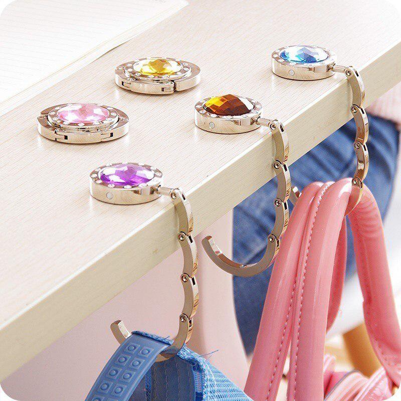 1 Uds. De aleación de Zinc gancho de diamantes de imitación gancho para mesa plegable colgador de llaveros redondo gancho para bolso colgante oficina en casa Por gancho para mesa
