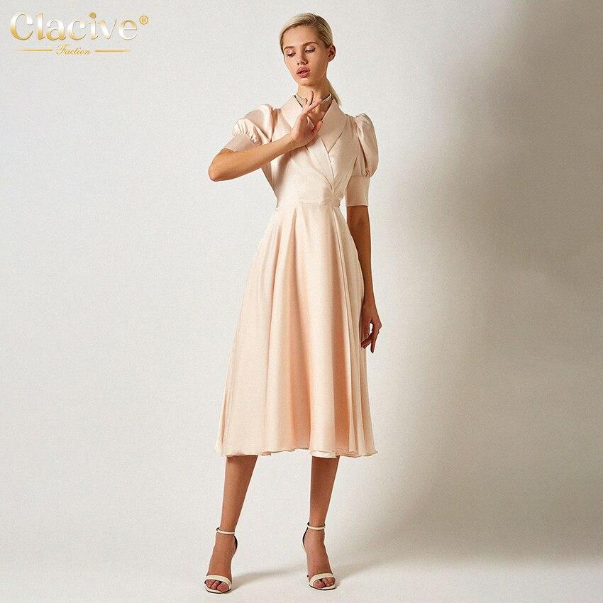 Clacive Fashion Lantern Sleeve Solid Satin Dress Casual Slim Bandage Office Summer Midi Dresses Wome