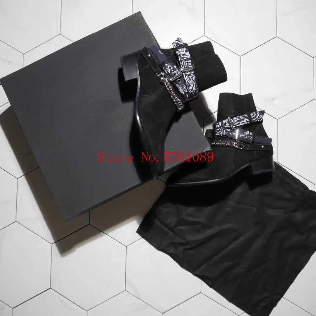 Moda hombre negro gamuza cuero Bandana hebilla botas Bandana-impreso tobillo Cadena de correas Correa Bandana hebilla botas Zapatos