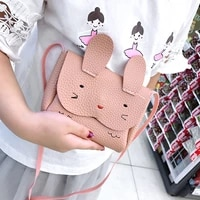 pu leather cute childrens coin purse handbags lovely baby girls mini crossbody bags cartoon rabbit boys kids shoulder bags