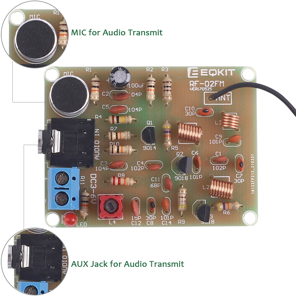 FM Stereo Radio Transmitter DIY Kit With Microphone Adjustable 88-108MHz Wireless Transmitter DC 3V DIY Soldering Practice nktech cze 15b adjustable 0 3w 15w 87mhz 108mhz with pc control fm transmitter broadcast radio station stereo lcd backlight