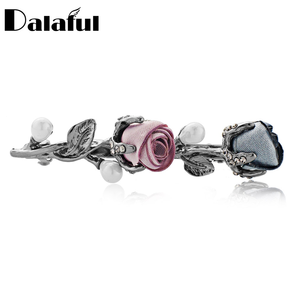 Pasadores de tela de flores rosas Dalaful, pasador de pelo simulado de perla de cristal de hoja, Clip de pelo, Tiara, joyería de boda para mujeres F154