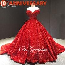 BAZIIINGAAA Vintage equin Tuch Hochzeit Kleid Rot Spitze Up Dreamy houlder Große ize 100cm Nachgestellte Hochzeit Kleid Zugeschnitten