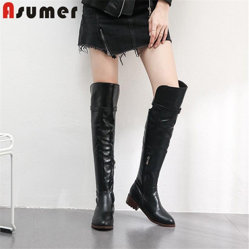 ASUMER 2020 recién llegado botas por encima de la rodilla mujeres punta redonda zip zapatos de tacón cuadrado simple mujer Otoño Invierno botas altas de muslo