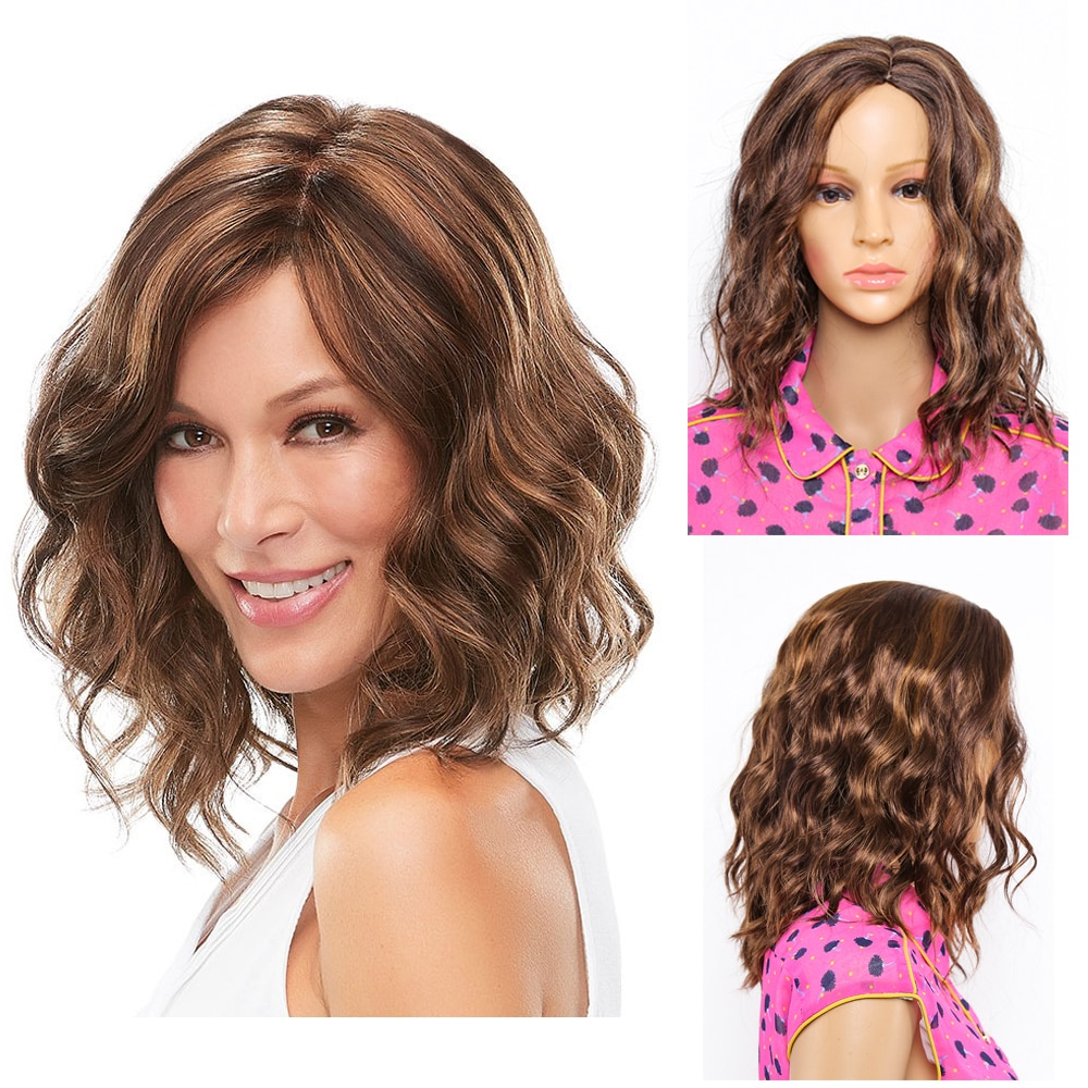 14 inch Bob Wigs Natural Wavy Curly Synthetic Hair Wig with Bangs wigs for Black Women Brown Mixed Short Heat Resistant Wig