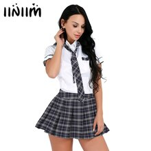 Womens Schoolgirls Cosplay Costume Japanese School Girl Uniform Sexy Clubwear Shirt with Plaid Skirt Tie Anime Roleplay Dress Up