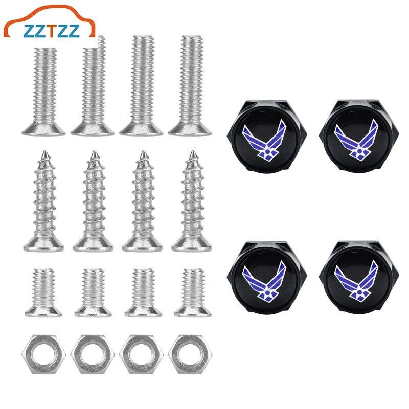 Zztzz 4 pçs/set chrome metal asa azul eua logotipo da força aérea anti-roubo parafusos da placa de licença do carro parafusos quadro