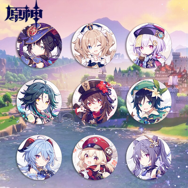 Anime Genshin Impact Badge Ganyu Albedo Paimon Tartaglia Brooch ZhongLi Diona Barbara Pin Gifts Fashion Personality Cosplay