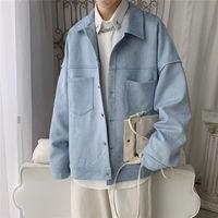 Куртка Privathinker Мужская замшевая однотонная, повседневное Свободное пальто в Корейском стиле, модная верхняя одежда, осень 2020