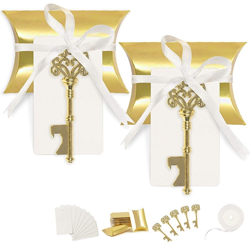 50 مجموعة هدايا لحفلات الزفاف للضيوف لصالح فتاحة الزجاجات مفتاح خمر مع علامة بطاقة مرافقة و شريط من الساتان