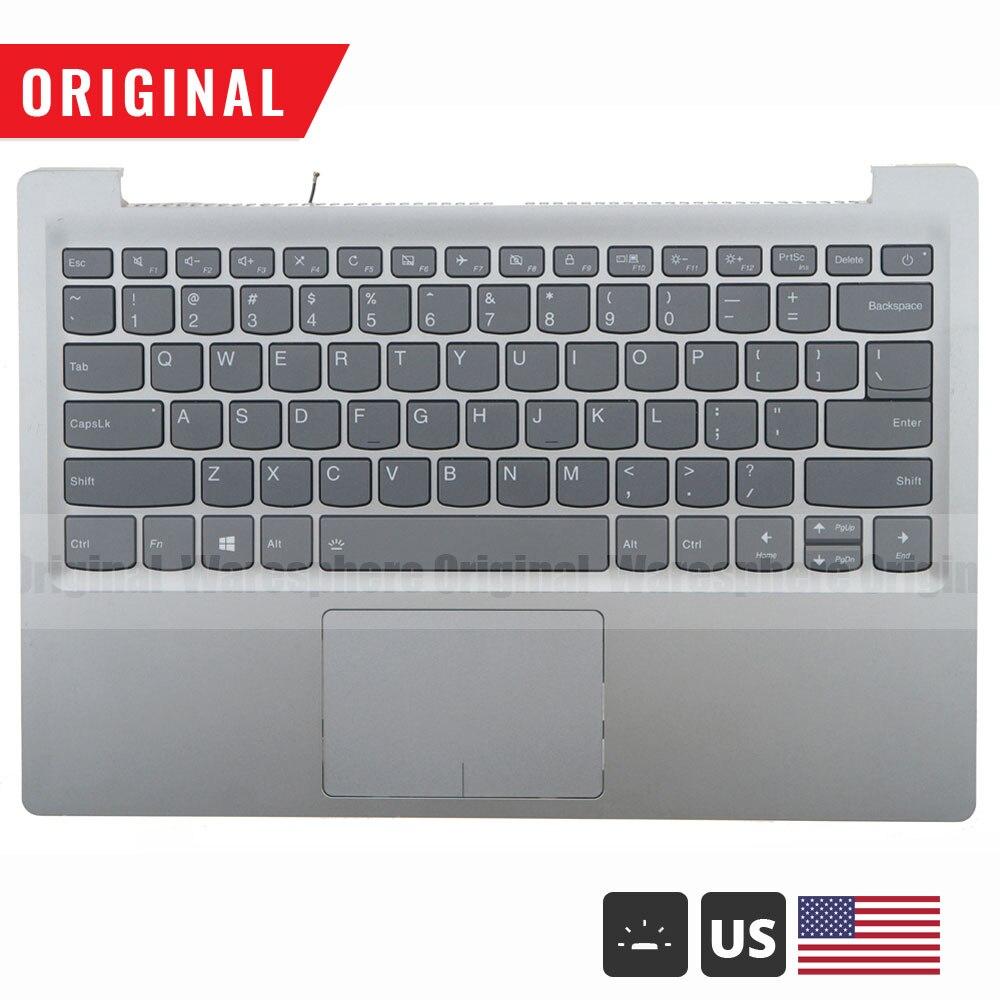 مسند المعصم الأصلي لجهاز Lenovo Ideapad 320S-13 320S-13IKB 7000-13 ، مع غطاء علوي للوحة المفاتيح بإضاءة خلفية أمريكية 5CB0Q17513 ، فضي