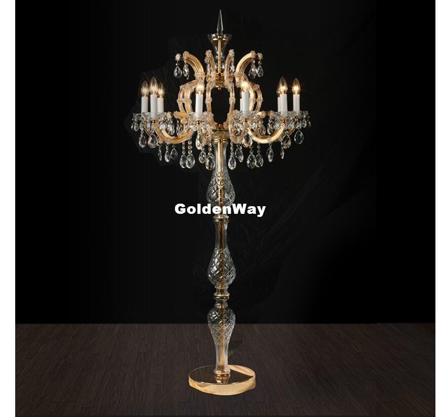 europeu de ouro prata luzes da tabela ac lampada de mesa de cristal de luxo com candelabros