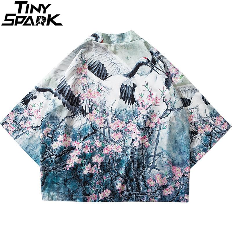 2020 Harajuku Kimono Jacket Japanese Hip Hop Men Streetwear Jacket Crane Floral Print Chinese Paint Summer Thin Gown Japan Style