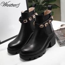 Automne nouveau strass cuir Martin bottes dames pieds Chelsea bottes style britannique personnalité mode épaisse avec des bottines