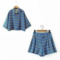 casual print two piece set women loose bird fashion print short sleeve beach cropped blouse shirt top blue summer shorts set