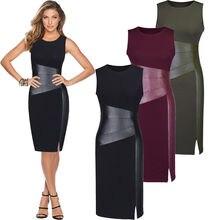 LOCAL STOCAL Women Bandage Bodycon Sleeveless Party Slim Tunic Pencil Side Slit Dress