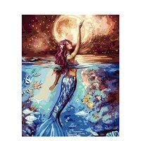 mermaid painting by numbers for adults diy craft kits acrylic paint drawing picture coloring by numbers home decoration wall art