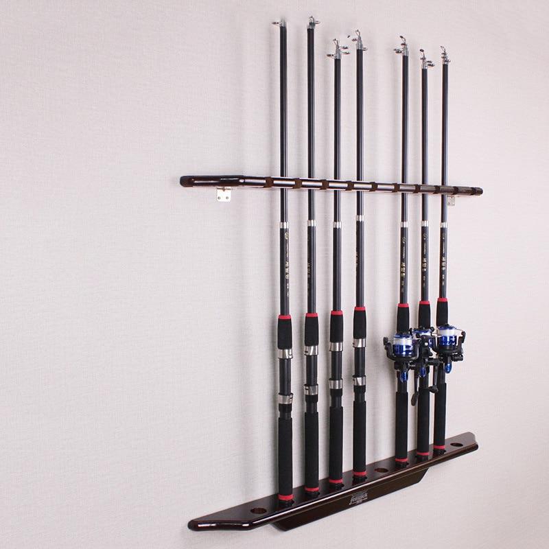 Fishing Tools Vertical 10-bit Rod Storage Rack Solid Wood Wall Hanging Display Rack Lure Rack Fish Pole Gear Tackle Accessories enlarge